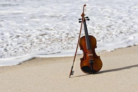 Close view of a violin at the Atlantic seashore