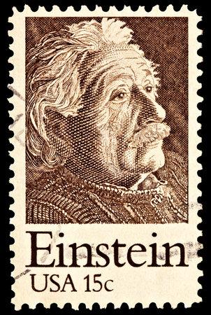 Portrait of Albert Einstein, theoretical physicist. Issued in 1979. Editorial
