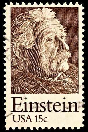 physicist: Portrait of Albert Einstein, theoretical physicist. Issued in 1979. Editorial