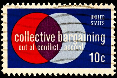 collective bargaining: Collective Bargaining postal issue. Labor and management. Collective bargaining law was enacted in 1935, in the Wagner Act. Issued in 1975 Stock Photo
