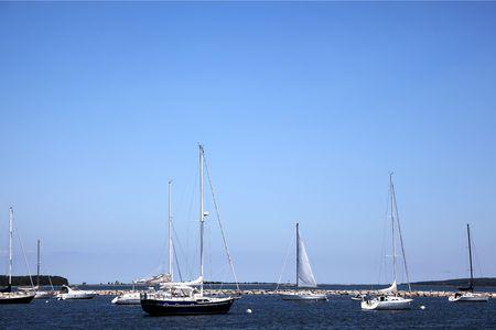 Sail boats mooring in the port at Sag Harbor, Long Island, New York Stock Photo