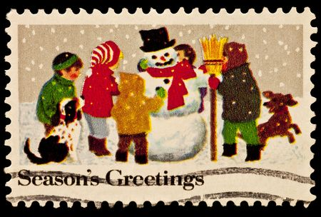 Kids Making a Snowman Christmas Issue Stock Photo - 7905468