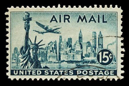 postmark: Statue of Liberty, New york Skyline and Lockheed Constellation Airmail stamp. Issued in 1947. Stock Photo