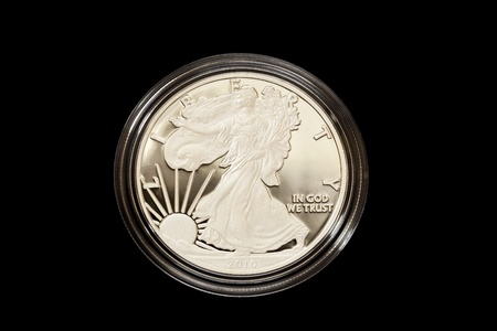 American Eagle Proof Coins are beautiful collectibles in precious metals that feature frosted images on a mirror-like background. Minted in 2010 by the United States Mint photo