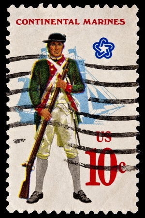 musket: Showing the military uniform of the American Continental Marines.Mariner with musket, fullrigged ship in background. Issued in 1975