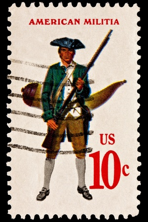 musket: Showing the military uniform of the American Continental Militia. Militiaman with musket and powder horn. Issued in 1975