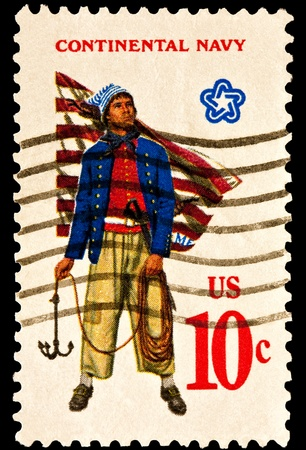 postmark: Showing the military uniform of the American Continental Navy. Sailor with grappling hook,First Navy Jack 1775. Issued in 1975