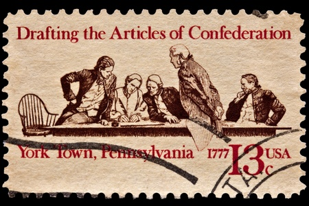 Drafting of the articals of confederation. Members of the continental congress in conference. York Town, Pennsylvana. 1777. Issued in 1977