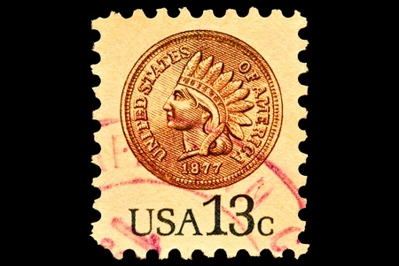 Indian Head Penny  postal stamp was issued in 1978.