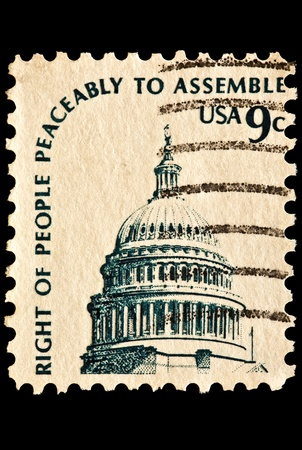 Pictured is the dome of  the United States Capitol. The right of peaceful assemble. Issued in 1975 as part of the Americana series.