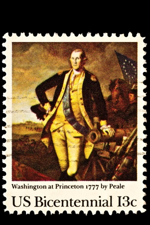 Washington's victory over Lord Cornwallis at Princeton, New Jersey. Issued in 1977. Painted by Charles Willson Peale in 1779.