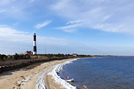 long island: Fire Island Lighthouse from the Great South Bay side  In the winter Stock Photo