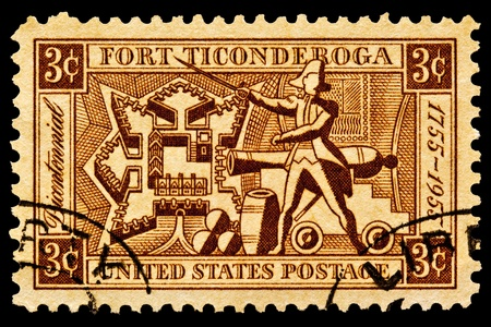Fort Ticongeroga was captured on May 10th 1775 by small force of patriots led by The Green Mountin Boys and General Ethan Allen  Located on Lake Champlain, New York  This issue shows a map of Fort Ticonderoga,artillary and Ethan Allen  Issued in 1955 Stock Photo