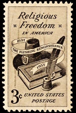 religious clothing: Religious Freedom Postal Issue. Issued in 1957 celebrating 300 years of American religious freedom. Stock Photo