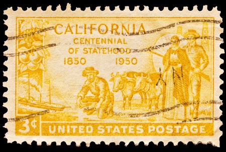 statehood: Gold miner, oxen and pioniers pictured on California centennial statehood issue, Issued in 1950