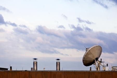 Satellite dish pointed toward the heavens  Banco de Imagens