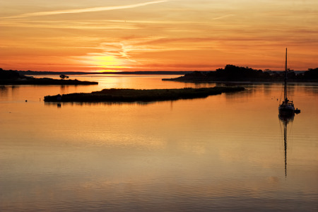 Sunrise on the Peconic river  Photo was taken at Indian Island  located on Long Island, New York  Stock Photo
