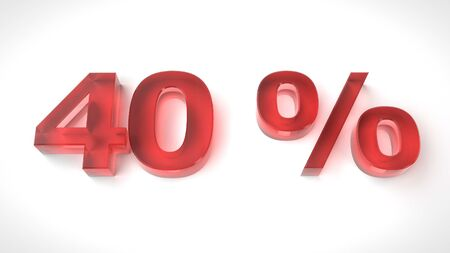 3D render red text 40 percent off on white background with reflection. 3d render illustration Stock Photo