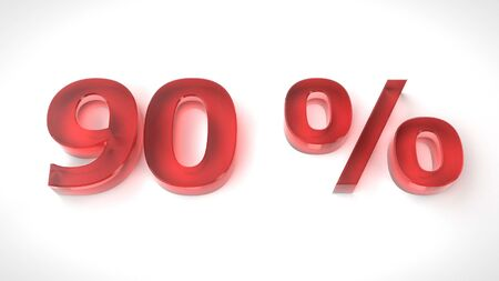 3D render red text 90 percent off on white background with reflection. 3d render illustration Stock Photo