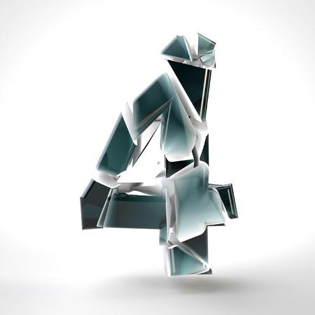 3D dark blue number 4 in the broken glass on a white background. 3D rendered Illustration