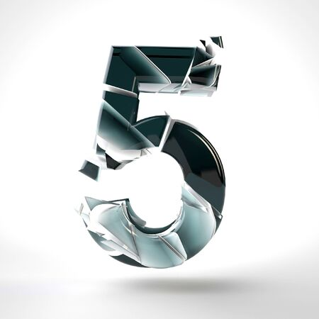3D dark blue number 5 in the broken glass on a white background. 3D rendered Illustration