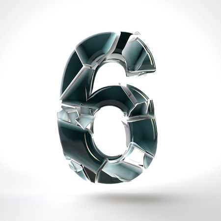 3D dark blue number 6 in the broken glass on a white background. 3D rendered Illustration