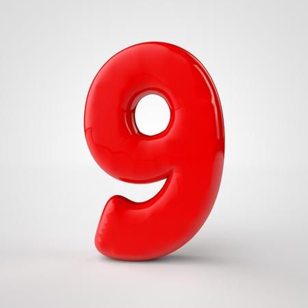 3d red number nine over white background. 3d render illustration Stock Photo