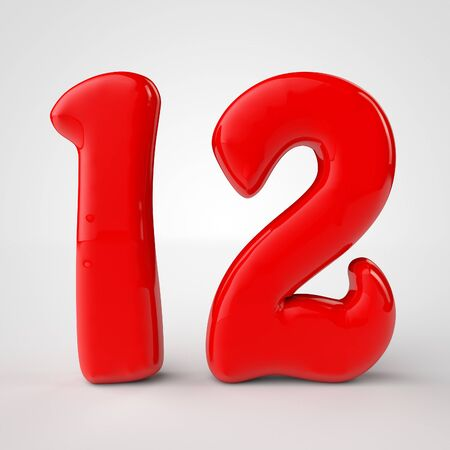 3d red number 12 over white background. 3d render illustration Stock Photo