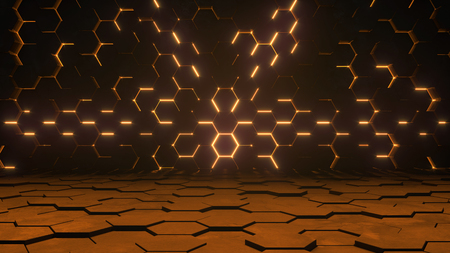 Abstract futuristic background. Hexagonal sci-fi warm lighting