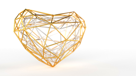 Golden polygonal heart of mesh on a white background Banco de Imagens