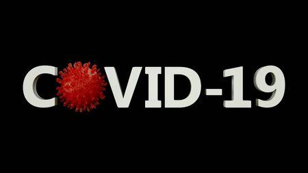 COVID-19 concept inscription typography . Coronavirus concept. 3d render ilustration Stock fotó