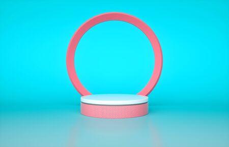 Pink and white cylinder pedestal isolated on blue background. 3d render illustration