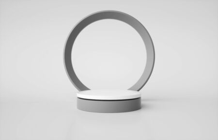 Gray and white cylinder pedestal isolated on white background. 3d render illustration Banque d'images