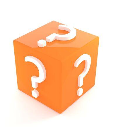 answer question: 3d isolati Orange Box Domanda su sfondo bianco
