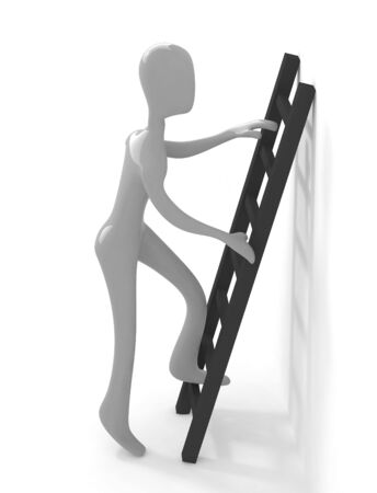 3d gray person climbing upon black ladder Stock Photo - 4313050