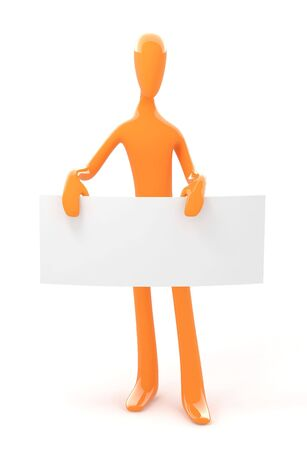 3d orange isolated simple person holds empty blank board Stock Photo - 4313045