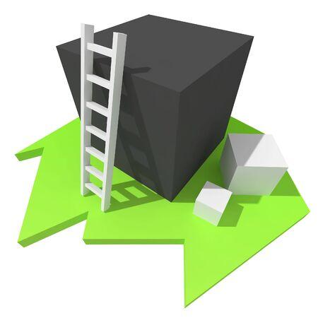 3d White Ladder on Black Box photo