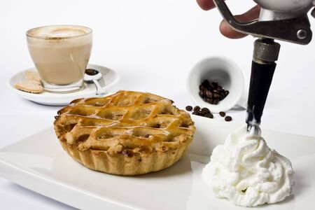 waffle and delicious coffee with cream and beans   photo