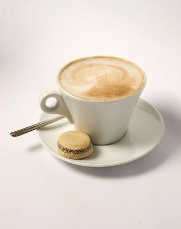 refreshment: hot coffee on plate with cookies on isolated background     Stock Photo