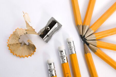 pencils with sharpener on isolated background