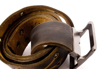 rolled belt on isolated background