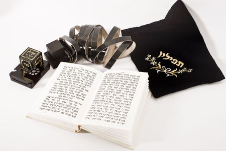 siddur: jewish praying elements on isolated background