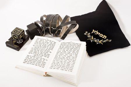 judaica: jewish praying elements on isolated background