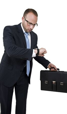 getting late: businessman getting late on isolated background