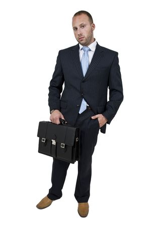 executive with briefcase on isolated background   Stock Photo