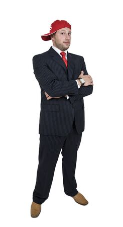 businessman with cap on isolated background   Stock Photo