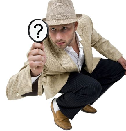 man with fedora hat and magnifier on isolatetd background