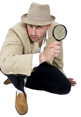 detective and magnifier on isolated background