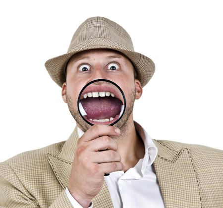 zooming view of mouth on isolated background