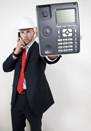 male displaying phone on isolated background